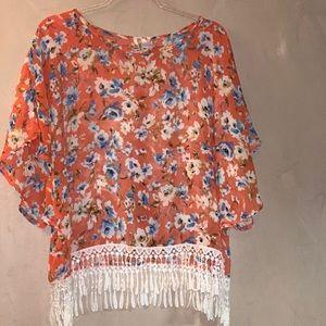 Tops - Oatt USA Orange floral top with fringe detail 2X